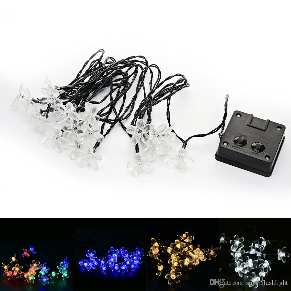 OriGlam 4 Light Color Solar Twinkling Cherry Blossom String Lights ...