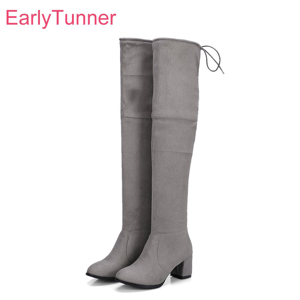 f80e83de0fa0 Hot Brand New Winter Soft Black Gray Women Thigh High Nude Boots Chunky  High Heels Lady Office Shoes EP68 Plus Big Size 10 43 Pumps Shoes Shoe Boots  From ...