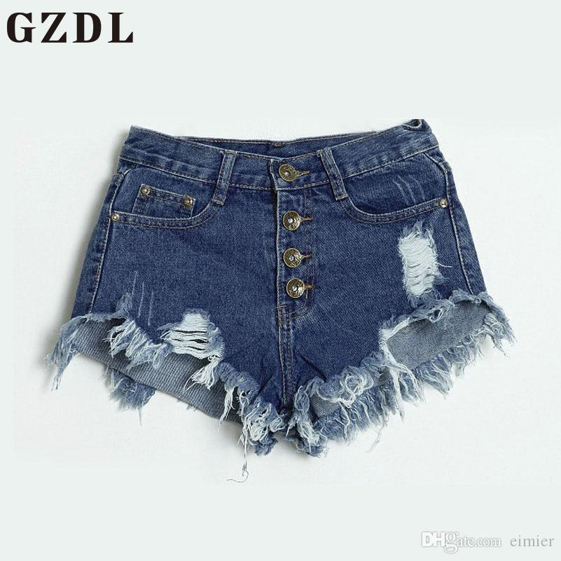 d7b257616fa2 2018 Wholesale GZDL Casual Women S Summer High Waist Washed Ripped Hole  Short Mini Jeans Button Fly Pocket Slim Denim Pants Shorts CL3544 From  Eimier