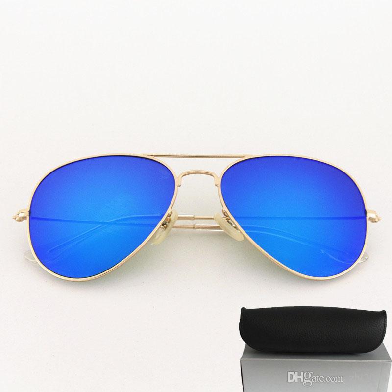 2808a5ae313f9 Compre Marca Designer De Moldura De Ouro Fosco Espelho Azul Óculos De Sol  Piloto Para Mulheres Dos Homens Uv Proteger Óculos De Sol Com Caixa Preta  48 Cores ...