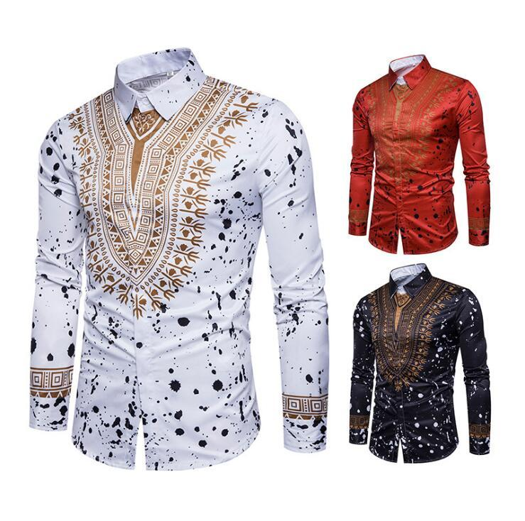 d6257e063bc New Tops Men s Casual Shirt 2018 Spring 3D National Style Printing ...