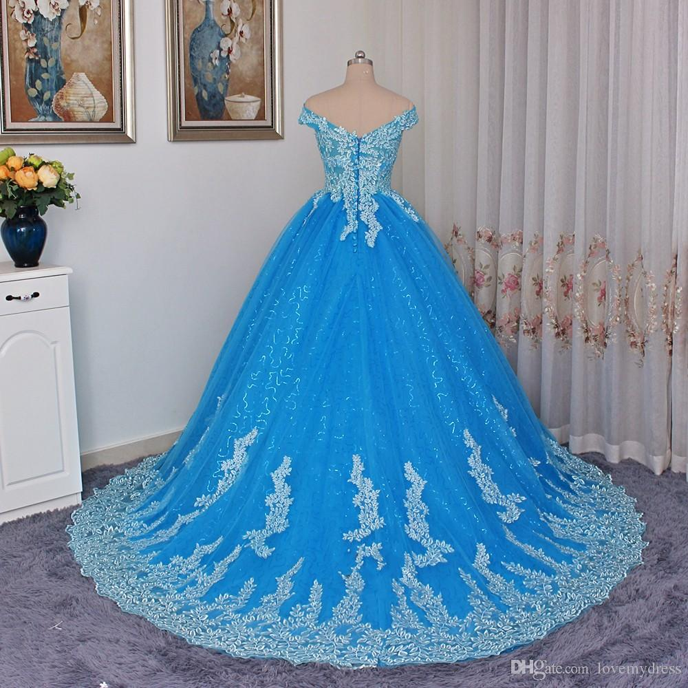 Elegant Off shoulders Blue Quinceanera Dresses V neck Short Sleeve Applique Lace Sequined Fabric Tulle Corset Back Cheap Prom Sweet 16 Dress