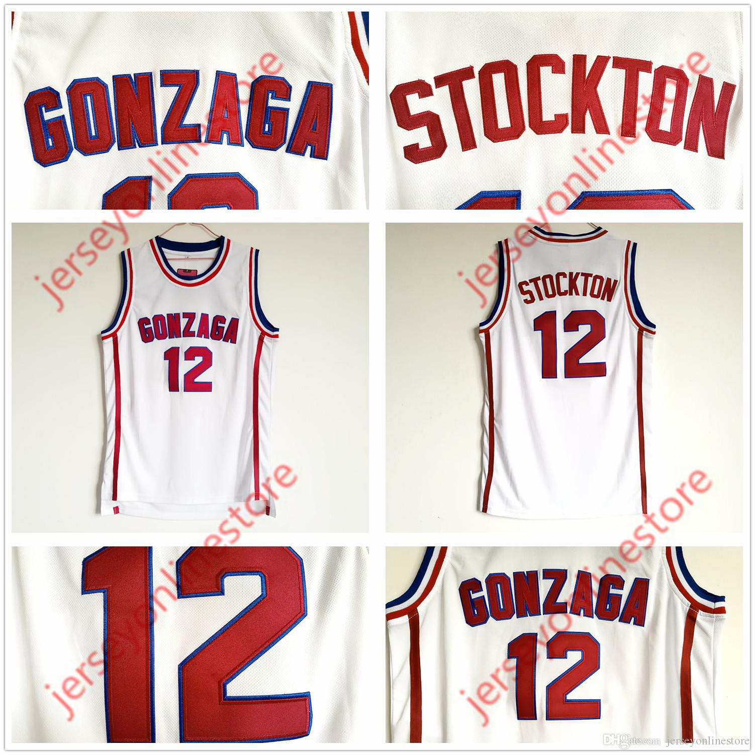 a746b1f982d7 Cheap Mens Gonzaga Bulldogs 12  John Stockton Jersey White Stitched ...