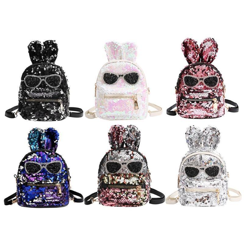 ca1545b079 Shiny Mini Sequins Backpack With Embroidery Glasses Cute Rabbit Ears Glitter  Shoulder Bags For Women Girls Travel Bag Bling2018 Cheap Backpacks Rolling  ...