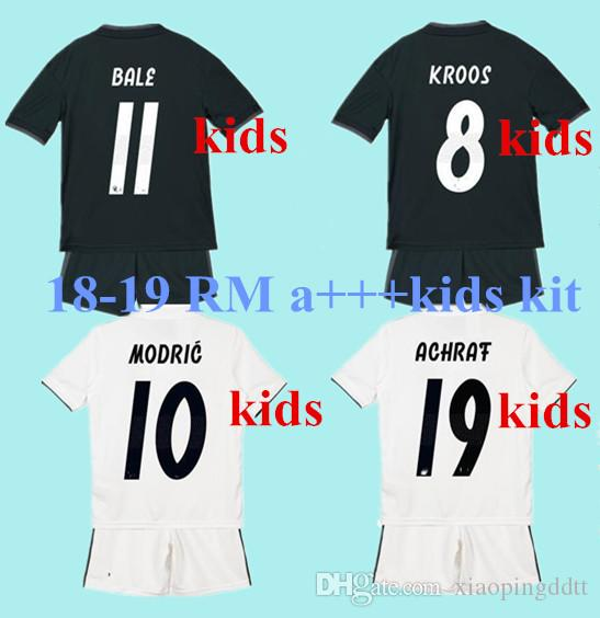 more photos dc3f0 911e5 kids kit 2018 2019 Real Madrid Soccer Jersey 18/19 youth boy Child RONALDO  home Soccer shirt 2019 Modric KROOS ISCO ASENSIO BALE Football