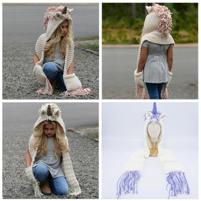2019 AMUSE 2 In 1 Unicorn Scarf Cap Kids Infant Llama Warm Knitted Hats  Children Cartoon Warmer Winter Crochet Hat AAA1013 From B2b baby 49bcbcd2a8c9