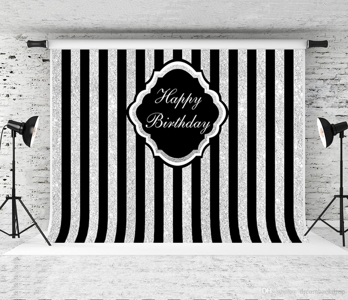 Dream 7x5ft happy birthday backdrops for photography black strips grey backgrounds baby party shoot background prop photo studio backdrop