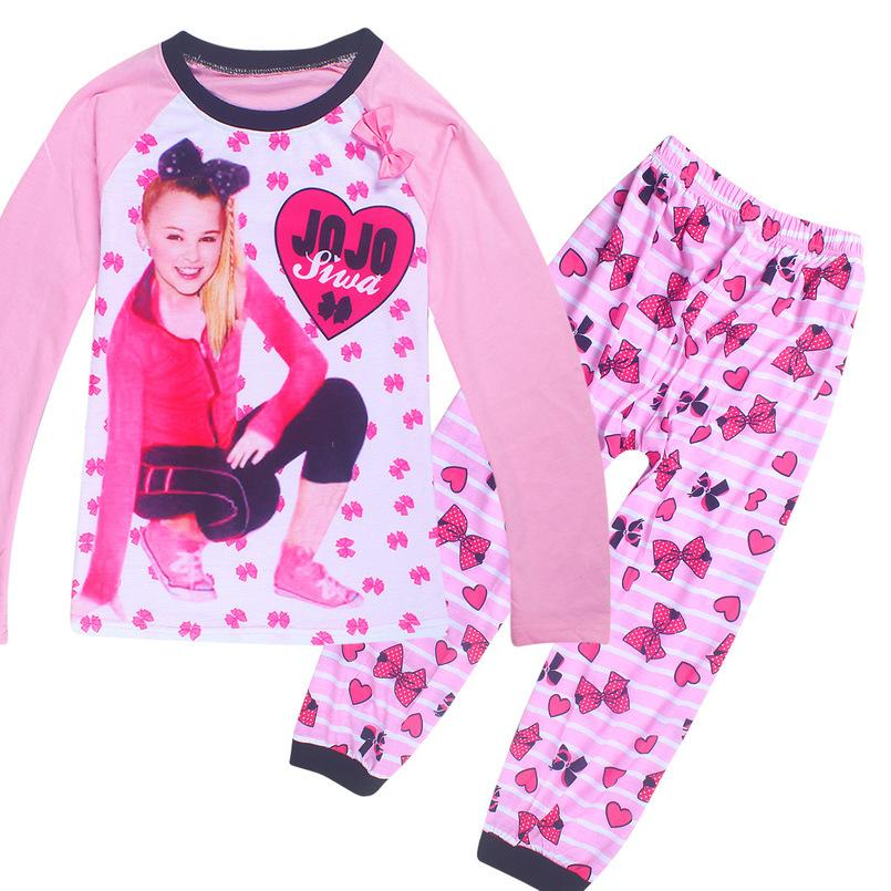 9a8694346 Spring-Autumn JOJO Siwa baby girl clothes pyjamas kids baby clothes Cartoon  long Sleeve tshirt + pants 2pcs sets children 4-10Y