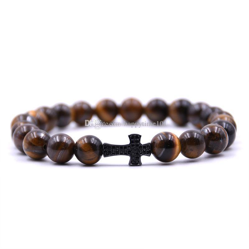New 8MM Lava Pierre Turquoise Bracelet Bangles Croix Yoga de l'énergie en pierre naturelle Bracelet en perles Livraison gratuite