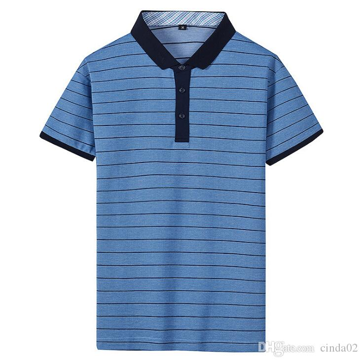 2018 Classics Casual Blue Shirt Male Summer Fashion New Mens Striped Cotton  Short Sleeved Shirts Slim Men S From Cinda02,  43.46   DHgate.Com de264bc6b1