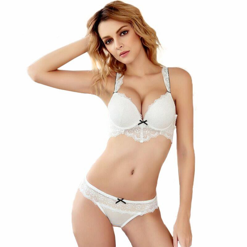 3b58dc75efbd9 2019 Women Lace Push Up Bra Set Transparent Bra Brief Sets Women Sexy  Lingerie Underwear Set Intimates Bras Temptation Sets From Matilian