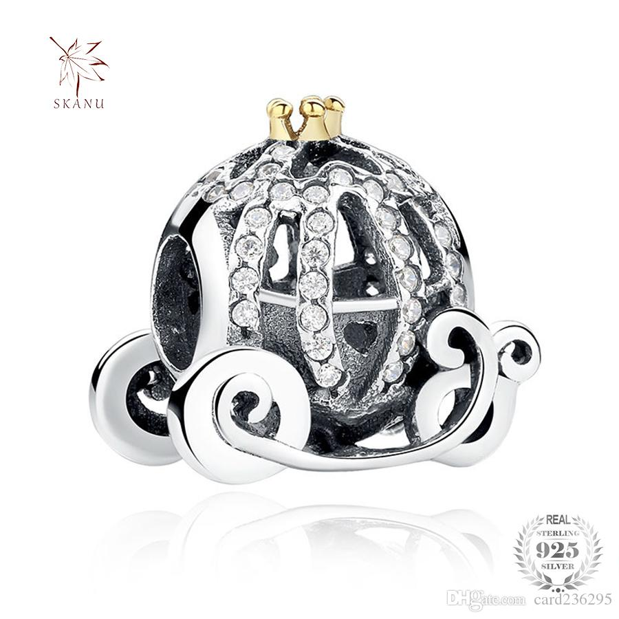 SKANU 925 Sterling Silver Pumpkin Car Charms Big Hole Beads With Clear Cubic Zircon Fit Pandora Jewelry Making For Girls Halloween Gift