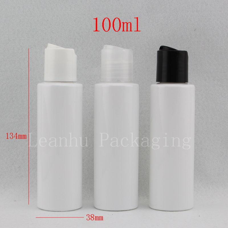 e573c9676e16 100ml X50 white cosmetic packaging container with disk cap, 3.4oz travel  shampoo lotion PET bottles with screw cap, cream bottle