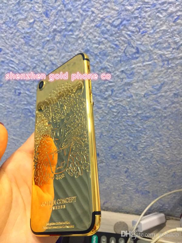 Back Rear Cover Battery Housing Door Chassis Middle Frame For IPhone 7 7 Plus 24ct 24k real Gold Rose Jet shiny gold plated luxury
