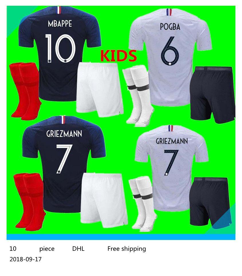 aa3dd89f2a4 2 Stars French Kids Kit Pogba Soccer Jersey 2018 World Cup PAYET ...