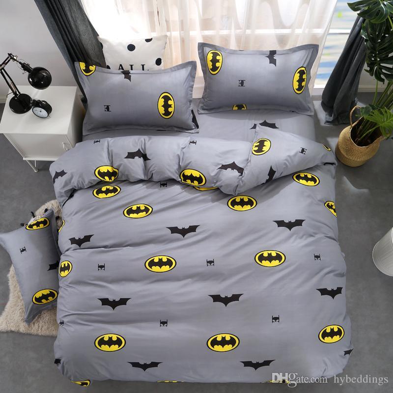 Cartone animato Copripiumino Batman Set biancheria da letto grigio Biancheria da letto bambini Singolo Matrimoniale Queen Size Bed Lenzuola Lenzuola 4 PZ Lenzuola