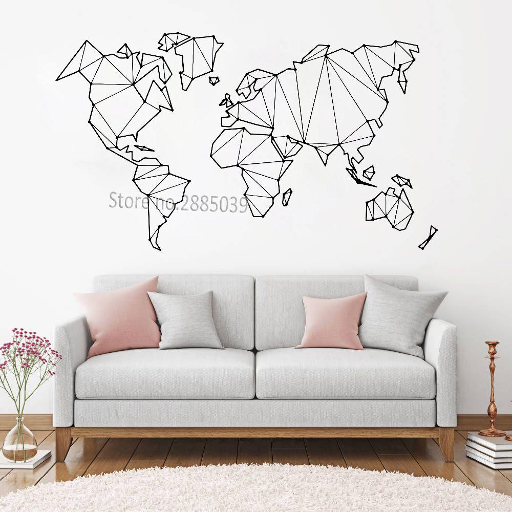 Großhandel Abstrakte Karte Welt Geographie Wandaufkleber Vinyl ...