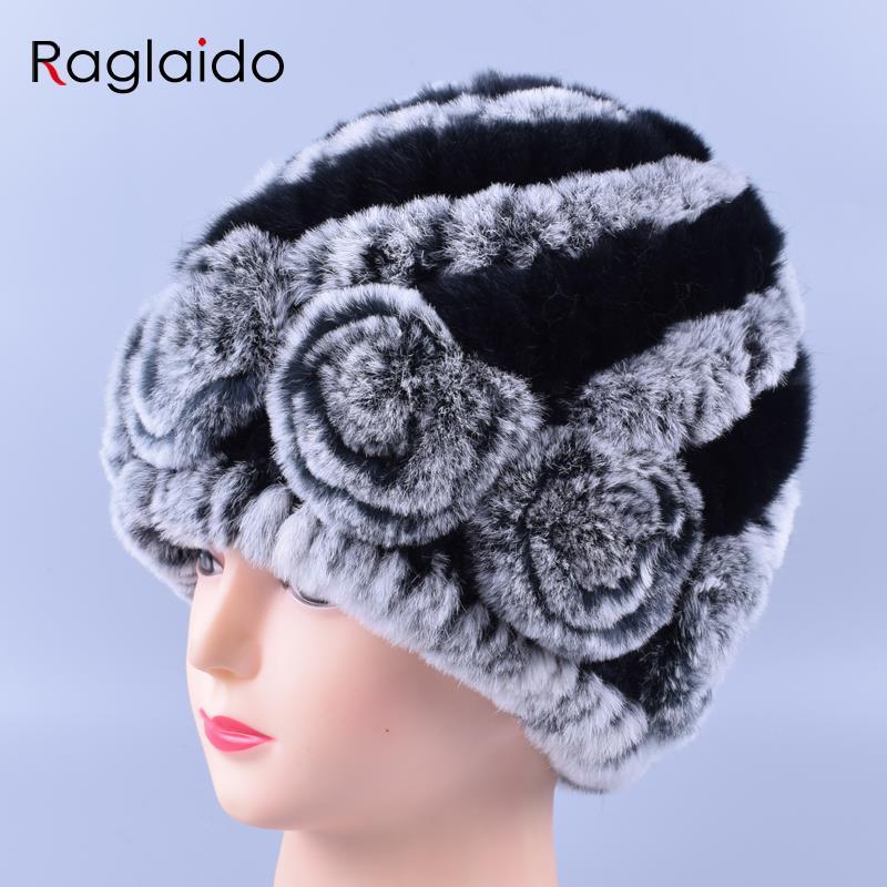 4380c50119f Raglaido Winter Fur Hats for Women Real Rex Rabbit Floral Madam ...