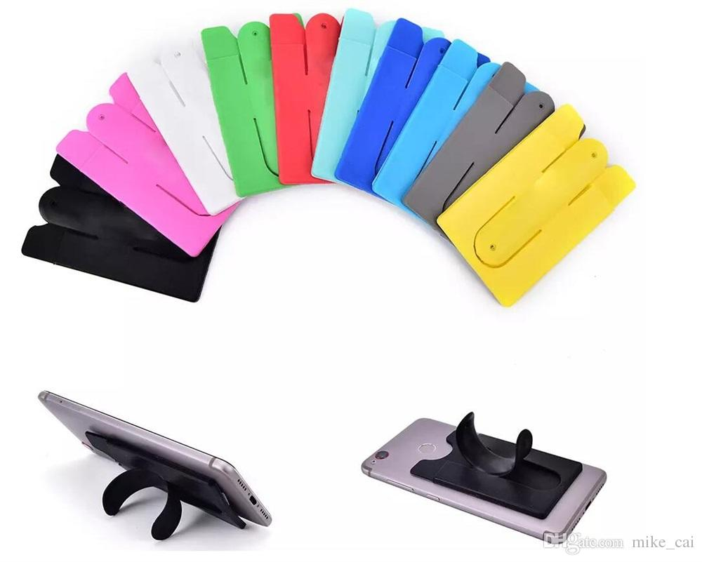 Universal Mix Color Back 3M Silicone Adhesive Stick ID Credit Card Holder Pocket Pouch with Phone Stand