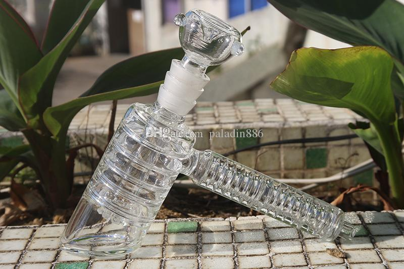 "Factory Price Upline Heady Glass Hammer bubbler ""pyramid"" Glass Bong With 2 Bowls 8 Cut Diffuser Downstem Glass Hand Pipes Water Pipes"