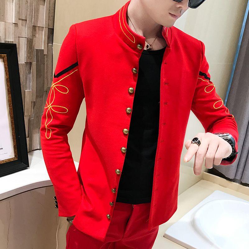 Gold Button Chinese Collar Suit Jacket Slim Fit Mens Blazer Pattern Army Pilot Jacket Men Black Blue Red White Blazer