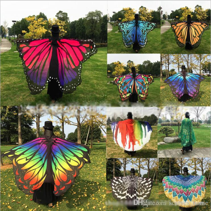 7b09bfb6083 Women New Colorful Butterfly Wing Cape Chiffon Long Scarf Party Stylish  Scarves Peacock Poncho Shawl Wrap Beach Towel Sarong Cover