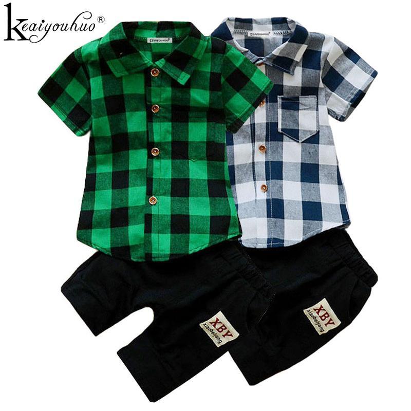 fe7e0966a7dc Acquista 2018 Estate Baby Boy Vestiti Imposta Manica Corta Tuta Sportiva Abbigliamento  Bambini Ragazzi Set Vestito In Costume Vestito Di Cotone I Vestiti ...