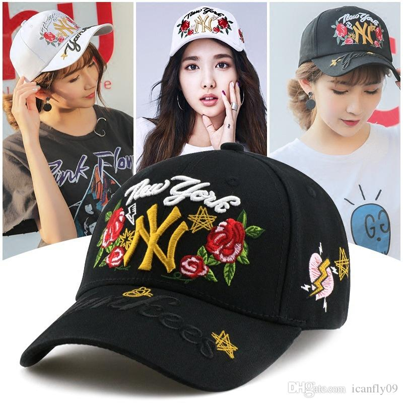Hat female spring and summer embroidery rose flower hat fashion baseball cap ladies hat 5 colors