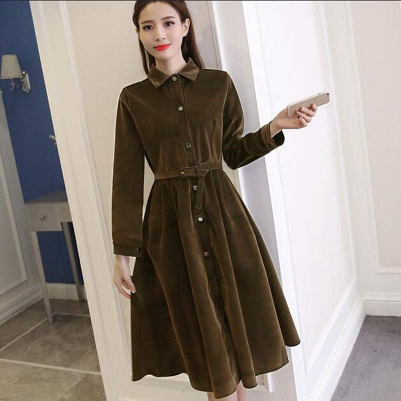 2019 Army Green Corduroy Dress Female Lapel Collar Long