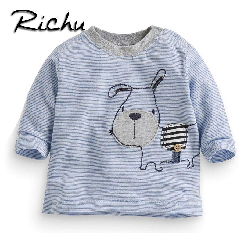 1f66c2cbb0ca7 Acheter Richu 100% Coton À Manches Longues Bébé Garçons T Shirts Filles Tops  2dshirt Sweat Bébé Garçon Enfants Chemises Tout Petits Rayé Funny Animal  Tees ...