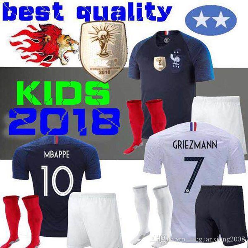 2 Star 2018 World Cup Kids Soccer Jerseys 18 19 POGBA Griezmann ... 9e891f4c6
