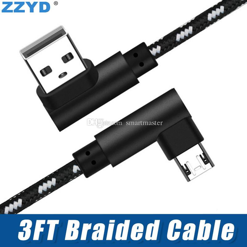 ZZYD 3FT Metal Housing Braided Micro USB Cable 2A Durable Charging USB Type C Cable for Samsung S8 Note8 iPX Xs Max