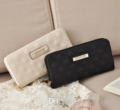 7452f7a5b911 2018 New Simple And Stylish Fashion Long Lattice Card Ladies Zipper ...