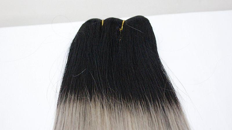 Estensioni dei capelli umani grezzi indiani 4 Bundles Estensioni dei capelli doppie trame 1B / Blonde 1B / grigio chiaro 1B / rosso indiano Bundles 10-18 pollici