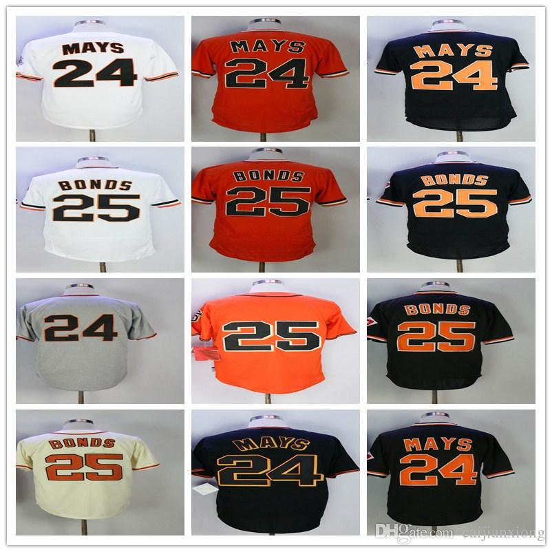 04ad78587 Men s Jersey 24 Willie Mays 25 Barry Bonds Jersey Stitched ...
