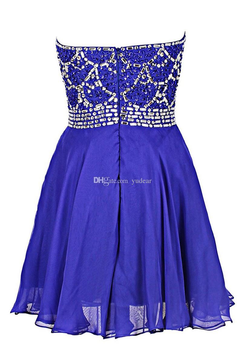Sexy Strapless 2019 Chiffon A-line Homecoming Dresses Short Crystal Beadings Zipper Backless Vestido de Fiesta Maid of Honor Prom Dresses