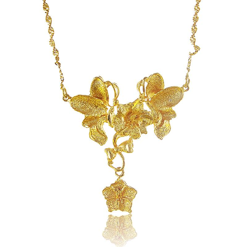 24K Pure Gold Pendant Necklace for Women Luxury Wedding Accessories Gifts Yellow Gold Color colgante Vintage Exquisite Flower