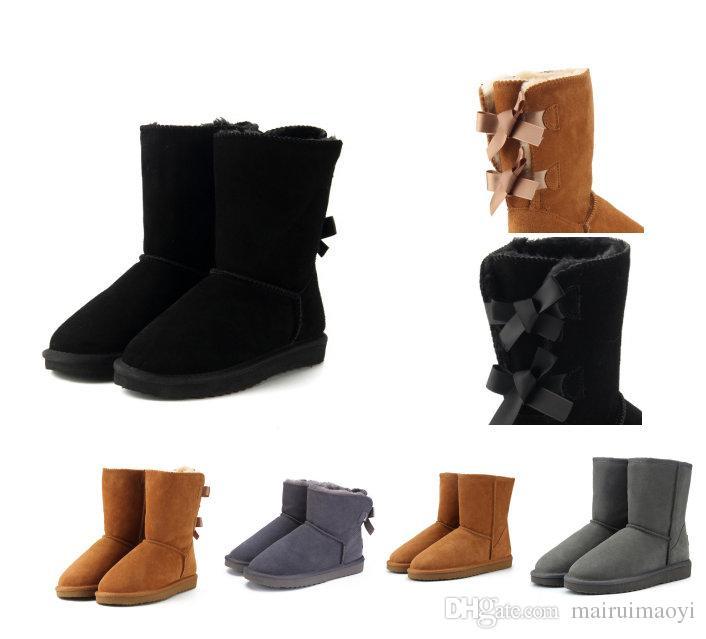 fa0a7a7c918fdc Großhandel 2018 Winter Frauen Schnee Stiefel Mode Echtes Wildleder  Australien Klassische Halten Warme Winter Marke Schuhe Luxus Designer  Stiefel Von ...