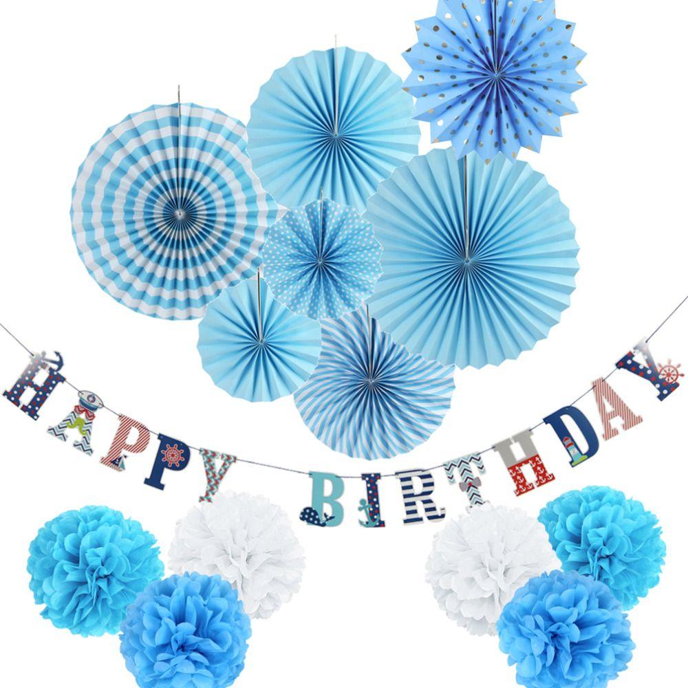 Blue,WhiteParty Decoration Set Nautical Theme Happy Birthday Banner/Paper Rosette/Tissue Pom Flower Birthday Party Favors
