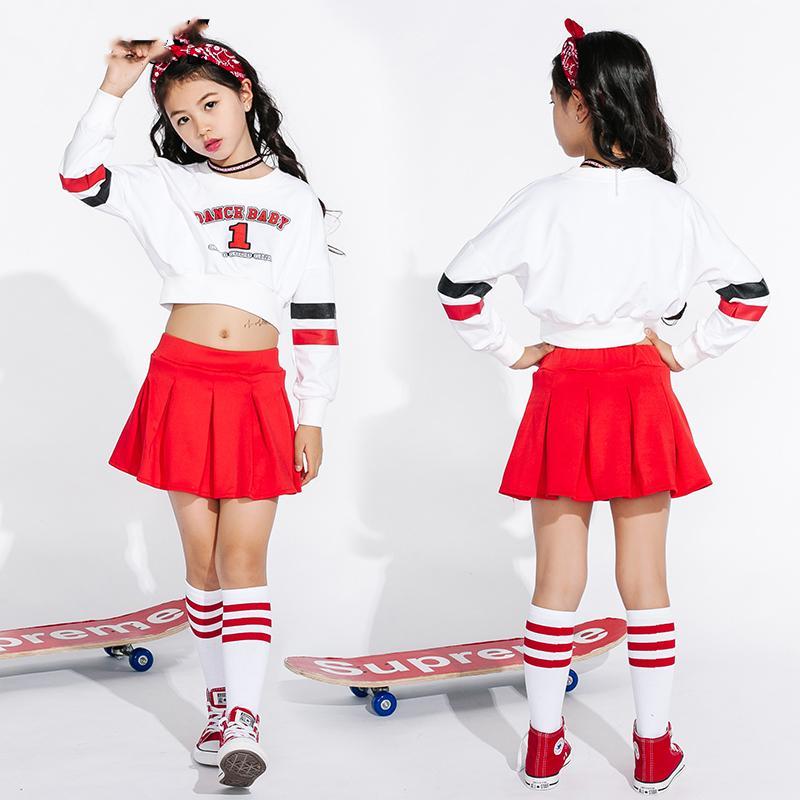 Acquista Costumi Di Ballo Di Jazz Le Ragazze Cheerleading Costume Bambini  Hip Hop Bambini Street Dance Abbigliamento Maniche Lunghe Gonne Rosse  DN1739 A ... 26b570a81b4e