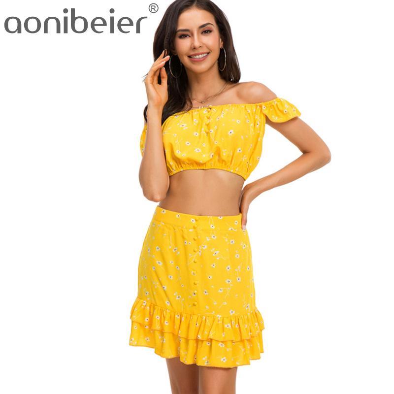 1630ddfa5dced 2019 Aonibeier Sexy Off Shoulder Crop Tops Ruffles Fashion Floral ...