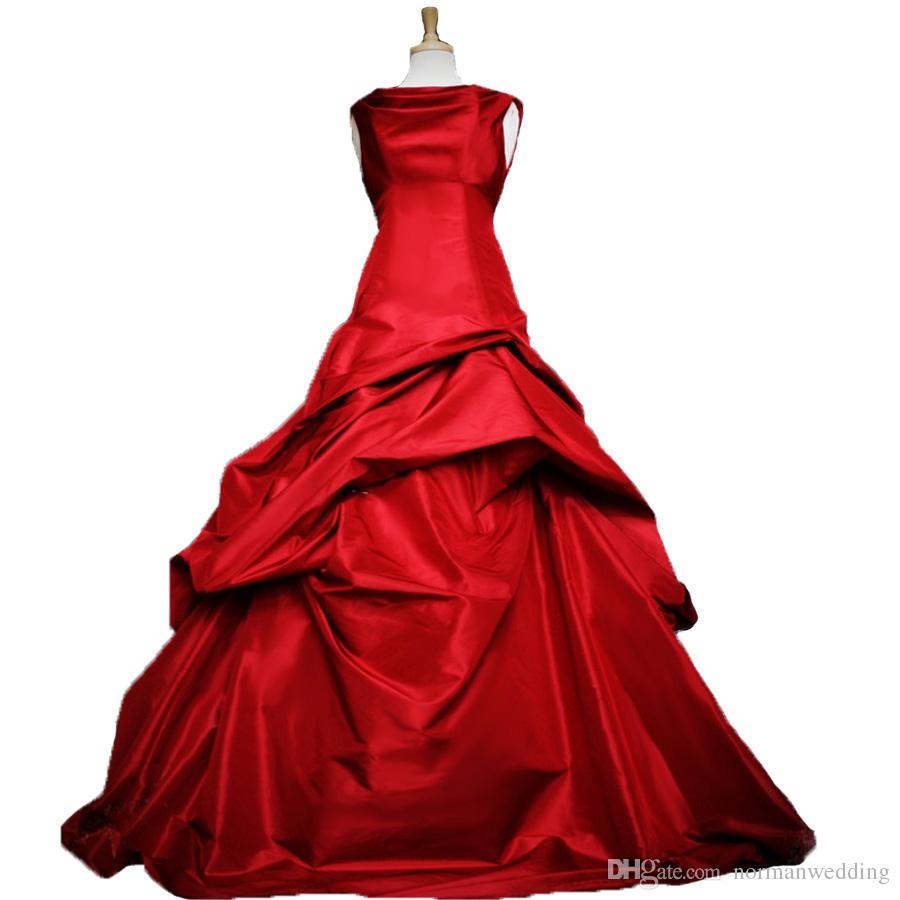 Discount Gothic Wedding Dresses 2018 Taffeta Red Purple Western ...