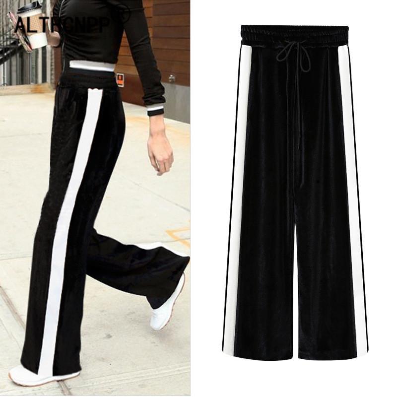 bedc2fdf8d 2019 Plus Size Women Pants Sweatpants New Winter Korean Fashion Gold Velvet  Loose Wide Leg Pants Casual Striped Women Trousers From Vanilla06