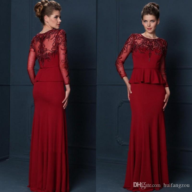 3e10aaf7ba Red Mermaid Mother of the Bride Dresses Jewel Neck Sheer Long Sleeves  Appliqued Sequins Prom Dresses With Peplum Plus Size Mothers  Dress