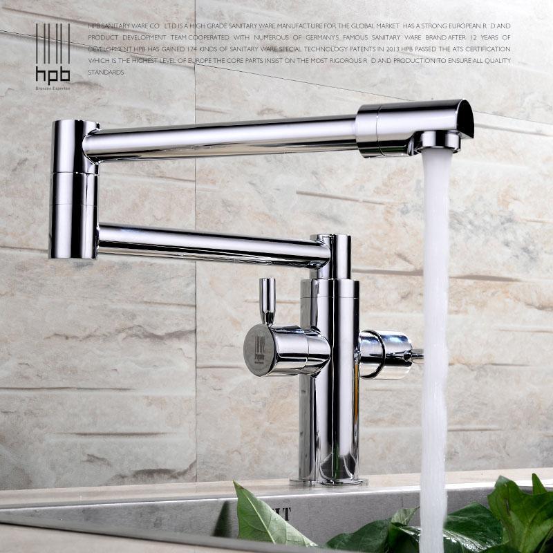 2018 Hpb Brass Chrome Deck Mounted Kitchen Pot Filler Faucet Sink ...