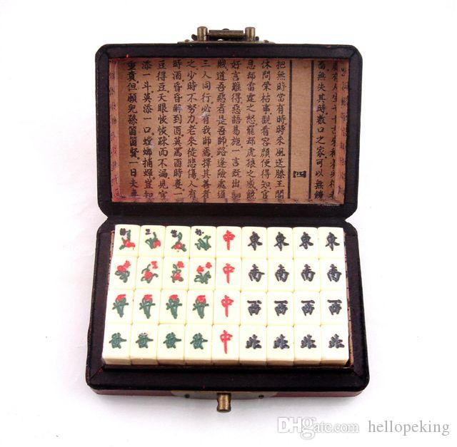 Juego de 144 azulejos Mah-Jong con acabado rojo o verde, flor de cuero, flores, pájaros, caja de madera