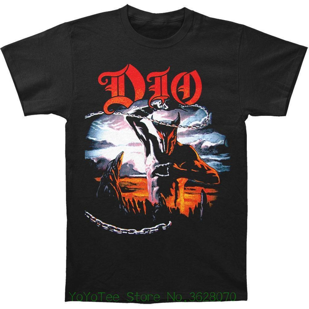 New Short Sleeve Round Collar Mens T Shirts Fashion 2018 Dio Men&#039 ; S Holy Diver T-shirt Black