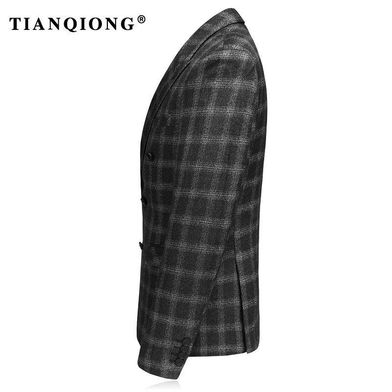 TIAN QIONG Kruvaze Yün Erkekler Blazers 2017 Slim Fit Erkek Ekose Blazer Moda Blazers Lüks Siyah Casual Suit Ceket