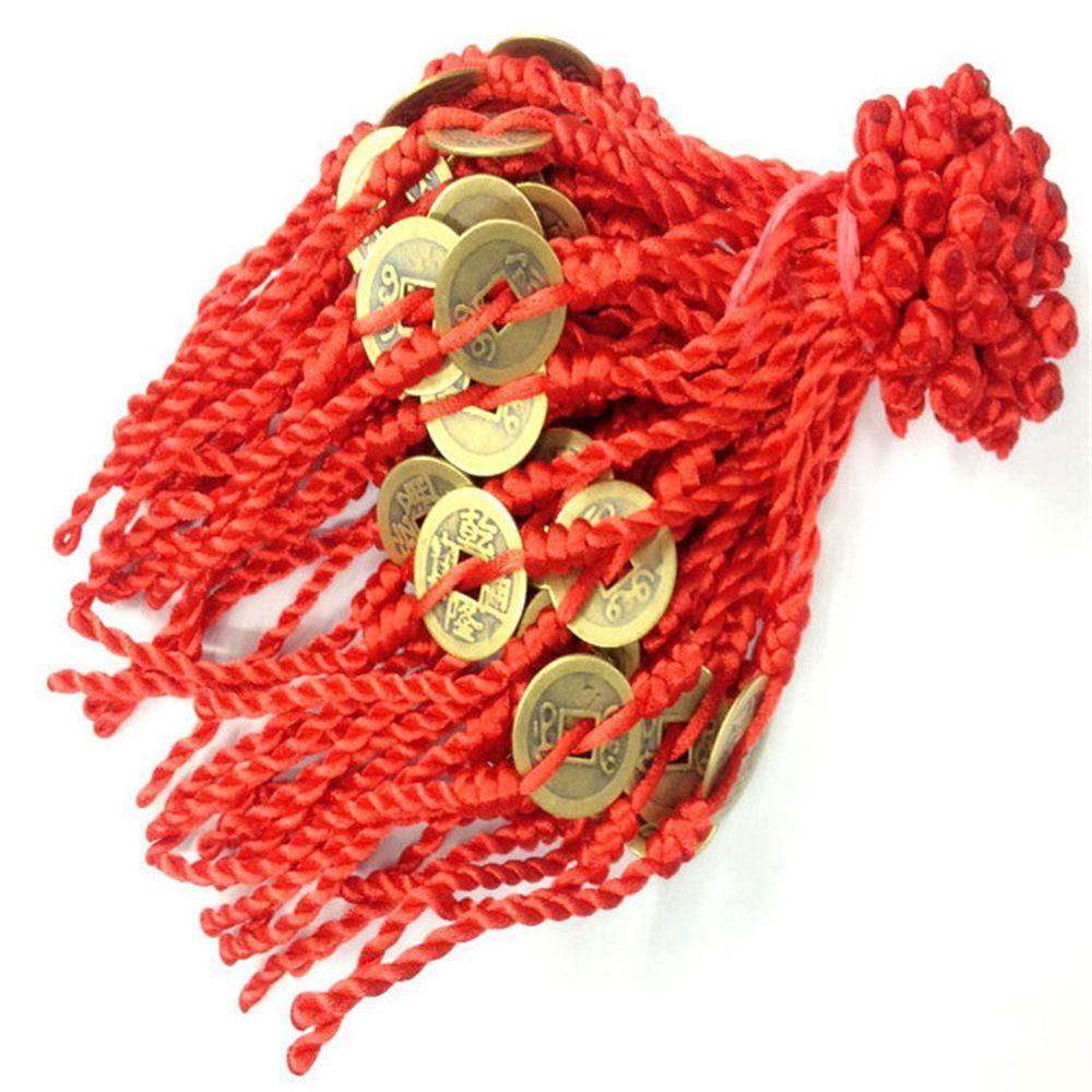 OPPOHERE Männer Frauen Feng Shui Rote Schnur Glücksmünze Charme Armband für Viel Glück Reichtum