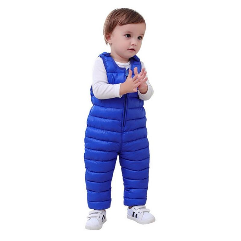 Winter children kids Pants Duck Down Bib Overalls Toddler baby boys girls Thick Warm Trousers clothes For 1-4Y kids